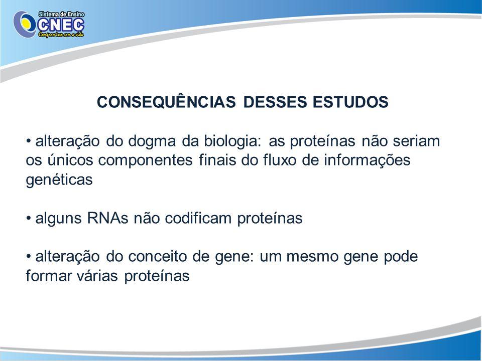 CONSEQUÊNCIAS DESSES ESTUDOS alteração do dogma da biologia: as proteínas não seriam os únicos componentes finais do fluxo de informações genéticas al