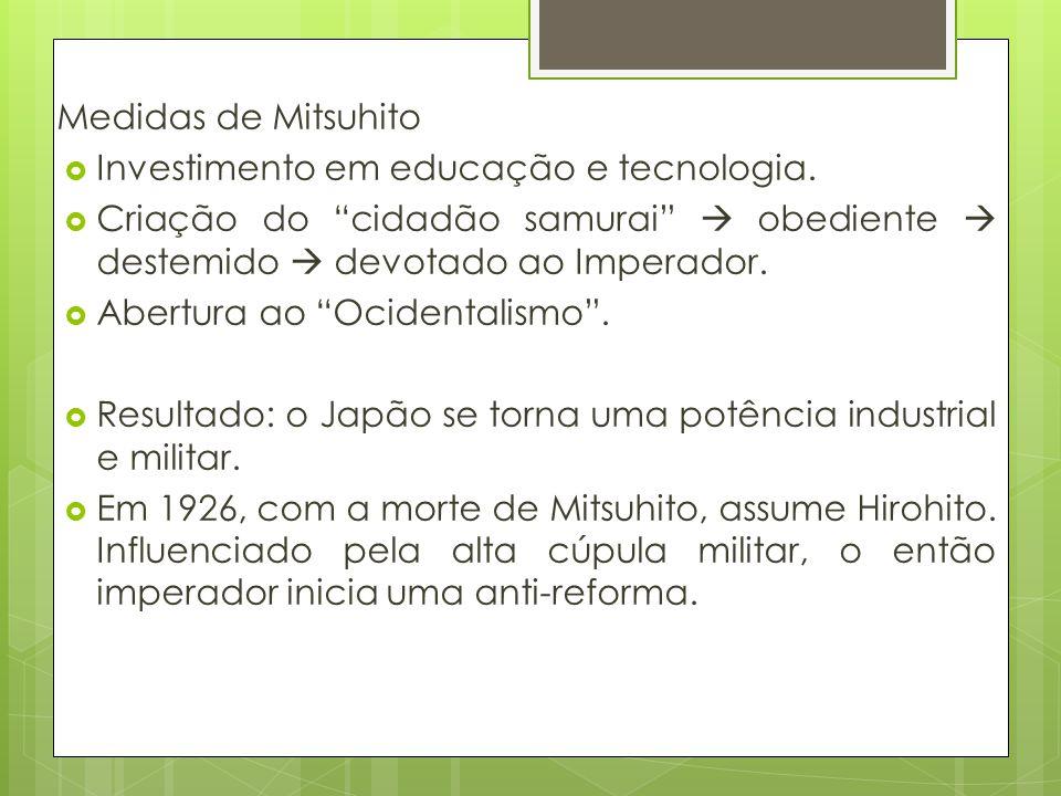 Medidas de Mitsuhito Investimento em educação e tecnologia. Criação do cidadão samurai obediente destemido devotado ao Imperador. Abertura ao Ocidenta