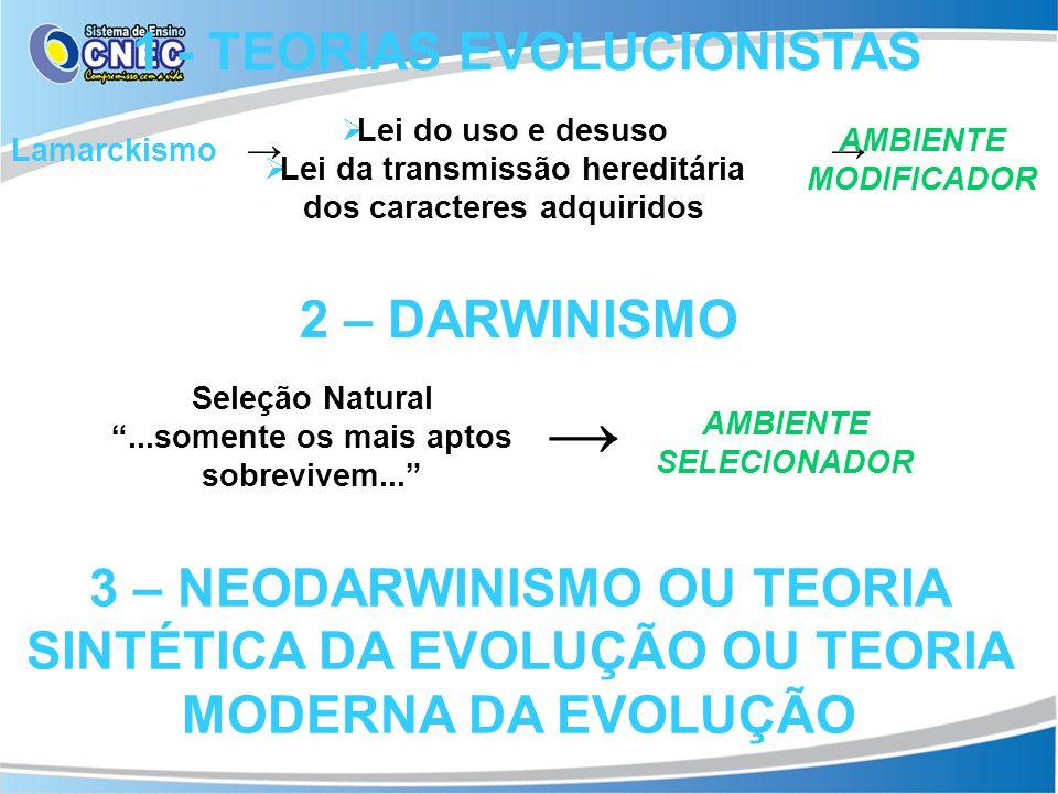 1 - TEORIAS EVOLUCIONISTAS 2 – DARWINISMO Lamarckismo Lei do uso e desuso Lei da transmissão hereditária dos caracteres adquiridos 3 – NEODARWINISMO O