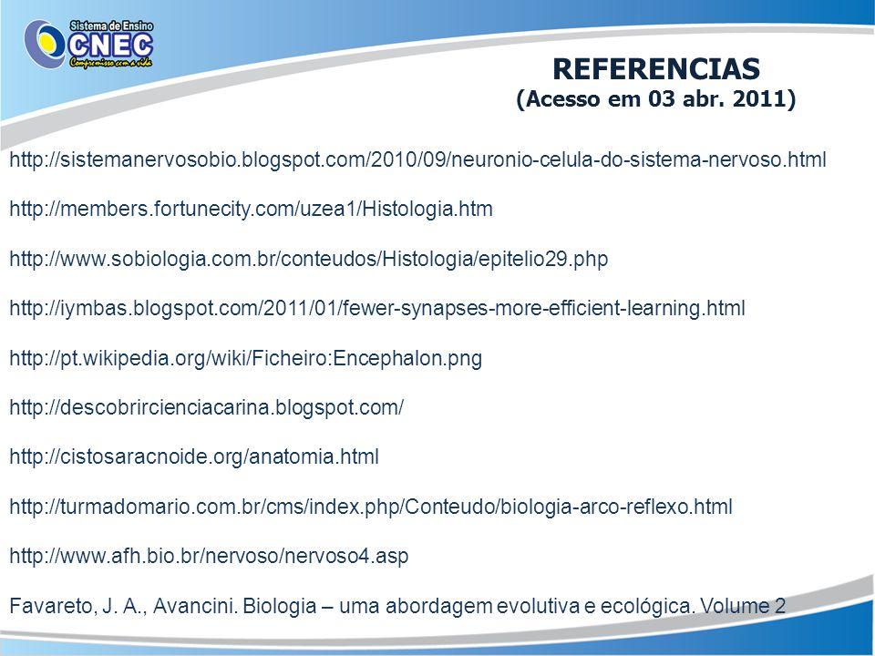 http://sistemanervosobio.blogspot.com/2010/09/neuronio-celula-do-sistema-nervoso.html http://members.fortunecity.com/uzea1/Histologia.htm http://www.sobiologia.com.br/conteudos/Histologia/epitelio29.php http://iymbas.blogspot.com/2011/01/fewer-synapses-more-efficient-learning.html http://pt.wikipedia.org/wiki/Ficheiro:Encephalon.png http://descobrircienciacarina.blogspot.com/ http://cistosaracnoide.org/anatomia.html http://turmadomario.com.br/cms/index.php/Conteudo/biologia-arco-reflexo.html http://www.afh.bio.br/nervoso/nervoso4.asp Favareto, J.