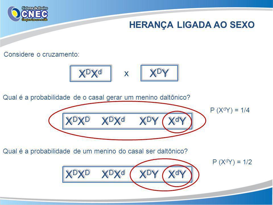 X D X D X D X d X D Y X d Y HERANÇA LIGADA AO SEXO Considere o cruzamento: XDXdXDXd XDXdXDXd XDYXDY XDYXDY x Qual é a probabilidade de o casal gerar um menino daltônico.