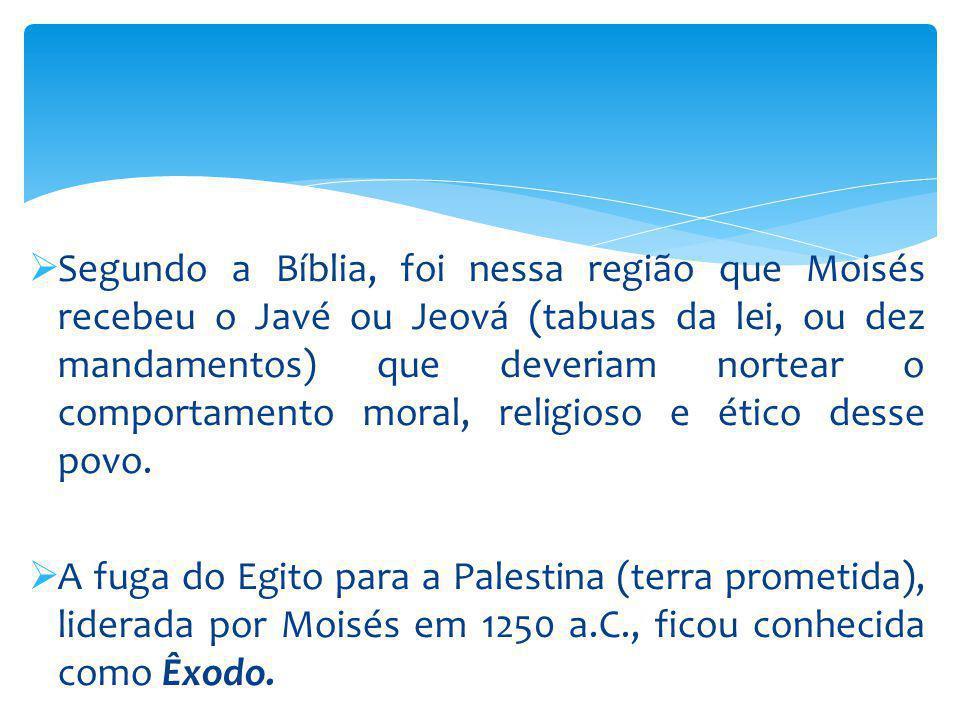 Segundo a Bíblia, foi nessa região que Moisés recebeu o Javé ou Jeová (tabuas da lei, ou dez mandamentos) que deveriam nortear o comportamento moral,