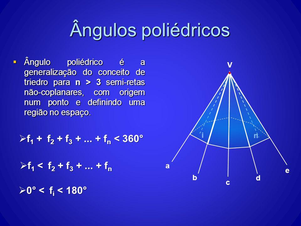 i n Ângulos poliédricos Ângulo poliédrico é a generalização do conceito de triedro para n > 3 semi-retas não-coplanares, com origem num ponto e definindo uma região no espaço.