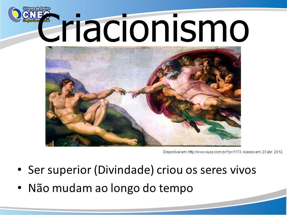 Criacionismo Ser superior (Divindade) criou os seres vivos Não mudam ao longo do tempo Disponível em: http://www.suza.com.br/?p=1173. Acesso em: 23 ab