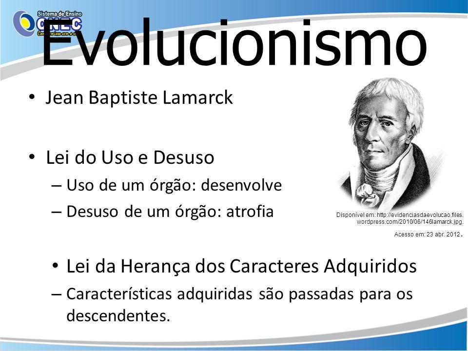 Evolucionismo Jean Baptiste Lamarck Lei do Uso e Desuso – Uso de um órgão: desenvolve – Desuso de um órgão: atrofia Lei da Herança dos Caracteres Adqu