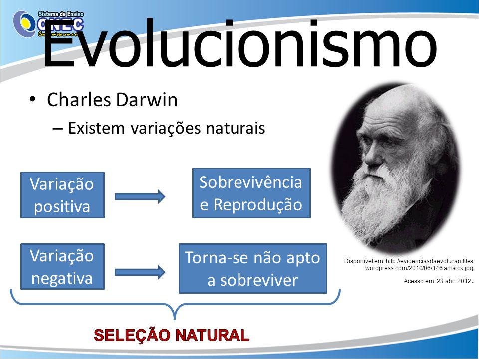 Evolucionismo Charles Darwin – O ambiente seleciona os mais aptos a sobreviver – Os mais aptos se reproduzem e deixam mais descendentes.