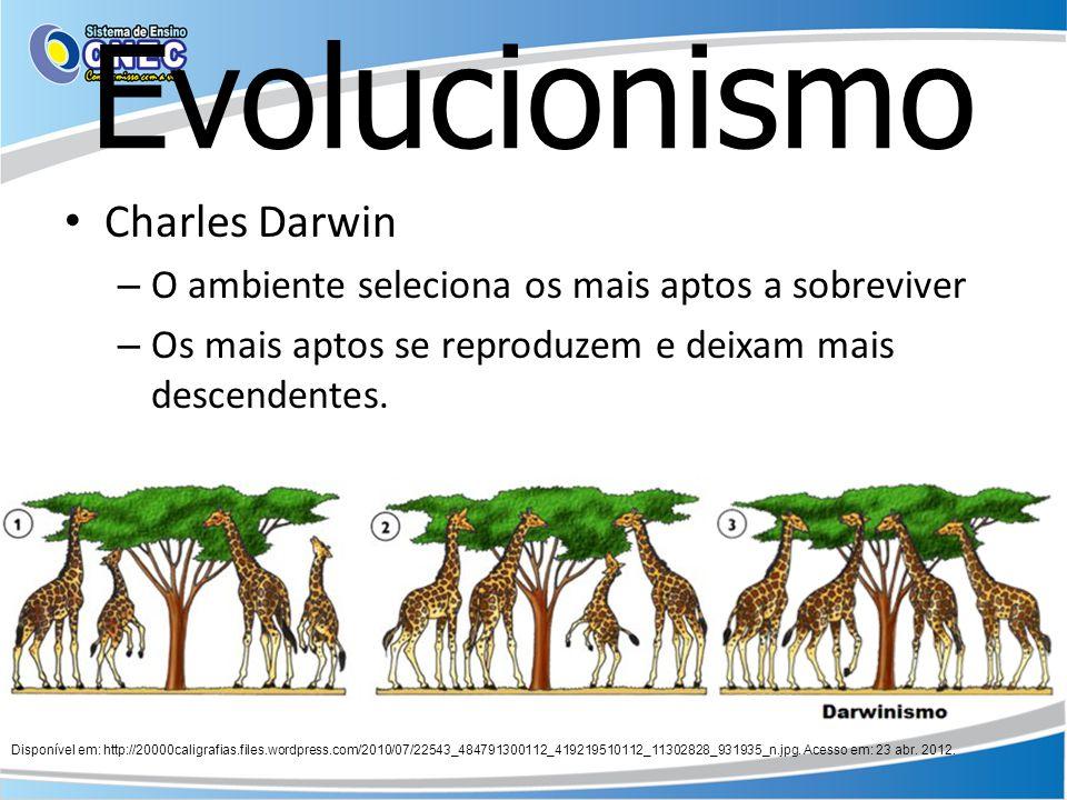 Evolucionismo Charles Darwin – O ambiente seleciona os mais aptos a sobreviver – Os mais aptos se reproduzem e deixam mais descendentes. Disponível em