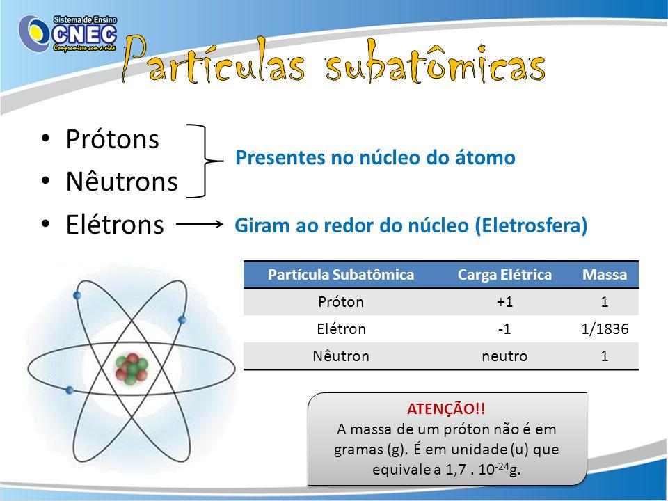 Prótons Nêutrons Elétrons Presentes no núcleo do átomo Giram ao redor do núcleo (Eletrosfera) Partícula SubatômicaCarga ElétricaMassa Próton+11 Elétron1/1836 Nêutronneutro1 ATENÇÃO!.