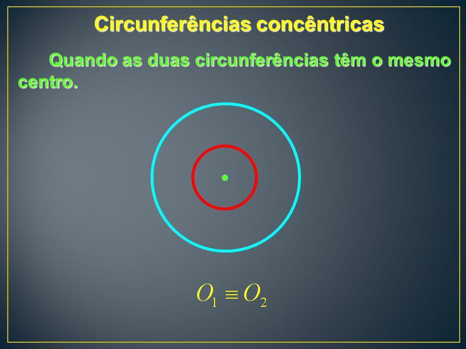 Circunferências concêntricas Quando as duas circunferências têm o mesmo centro.