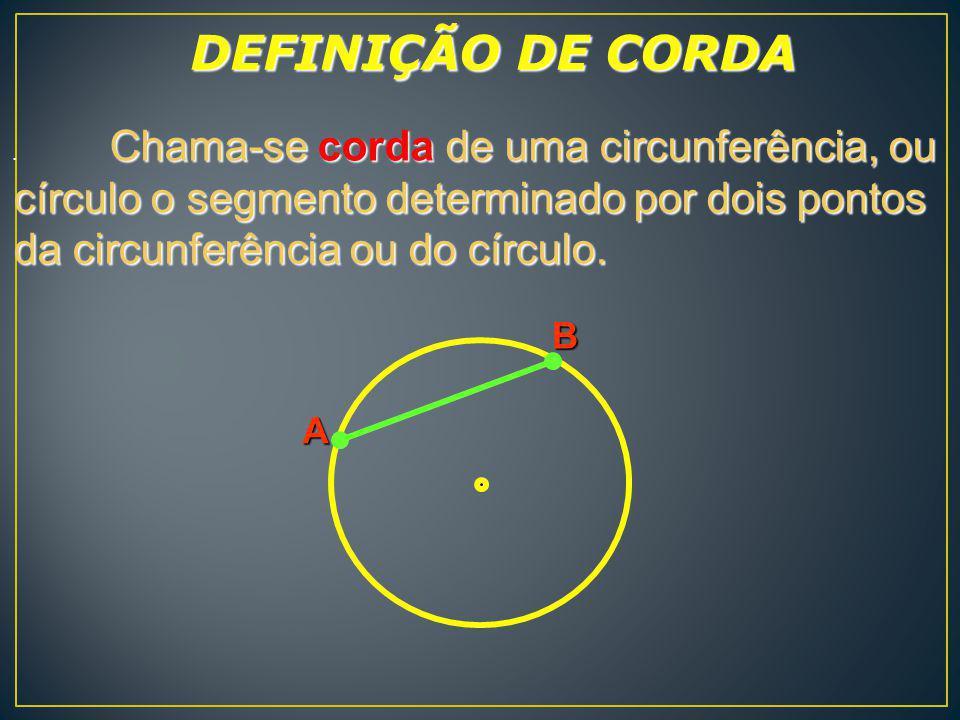 D C O Chama-se diâmetro de uma circunferência ou círculo a corda que passa pelo centro da circunferência ou do círculo.