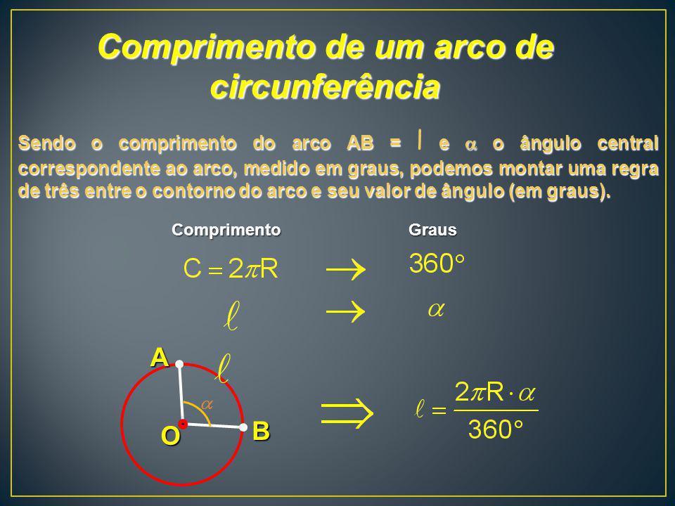 Comprimento de um arco de circunferência B O A Sendo o comprimento do arco AB = e o ângulo central correspondente ao arco, medido em graus, podemos mo