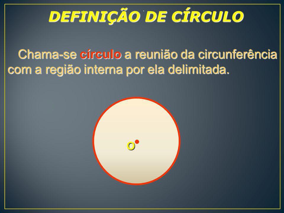 . Chama-se círculo a reunião da circunferência com a região interna por ela delimitada. Chama-se círculo a reunião da circunferência com a região inte