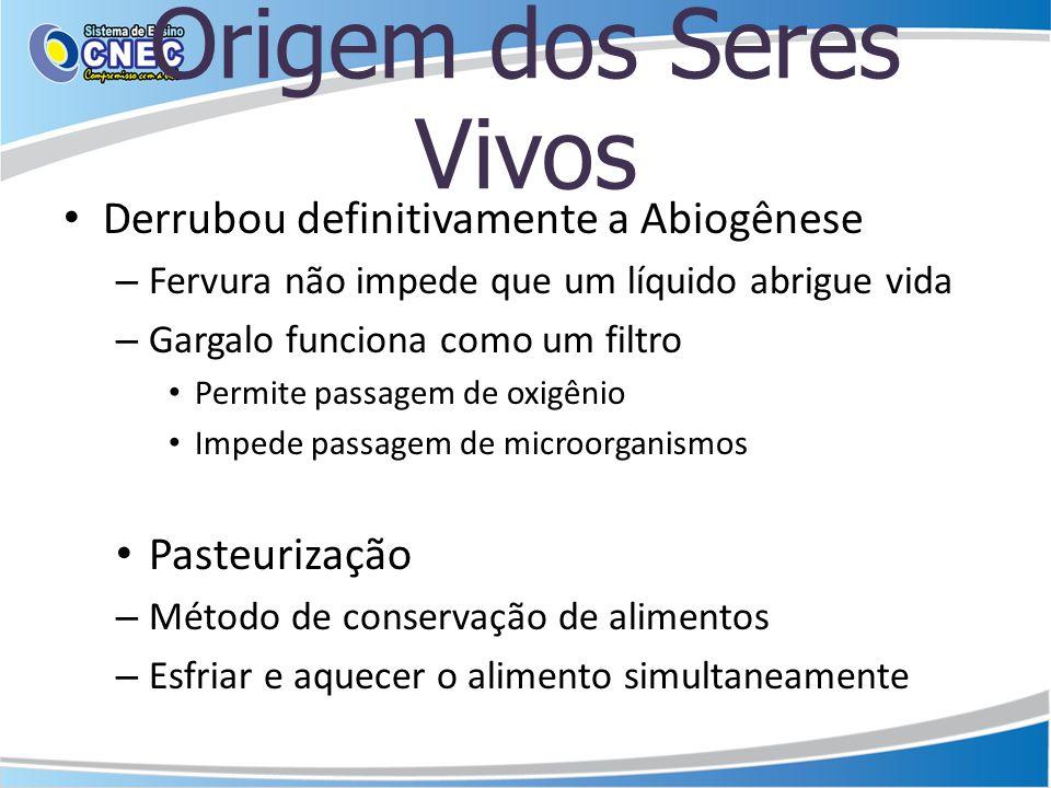 Origem dos Seres Vivos Derrubou definitivamente a Abiogênese – Fervura não impede que um líquido abrigue vida – Gargalo funciona como um filtro Permit