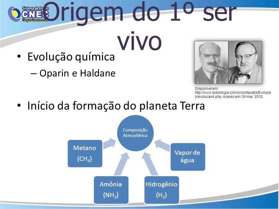 Origem do 1º ser vivo Evolução química – Oparin e Haldane Início da formação do planeta Terra Composição Atmosférica Metano (CH4) Hidrogênio (H2) Amôn