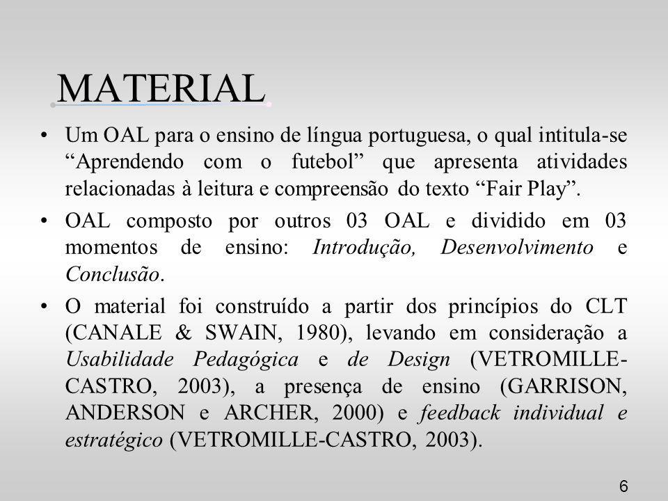 MATERIAL Um OAL para o ensino de língua portuguesa, o qual intitula-se Aprendendo com o futebol que apresenta atividades relacionadas à leitura e comp