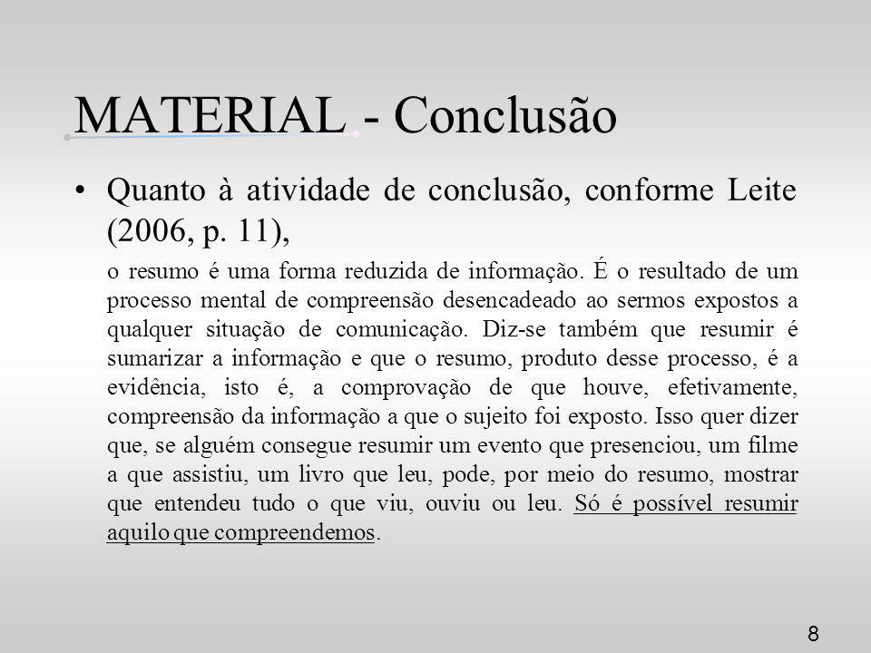 MATERIAL - Conclusão Quanto à atividade de conclusão, conforme Leite (2006, p. 11), o resumo é uma forma reduzida de informação. É o resultado de um p