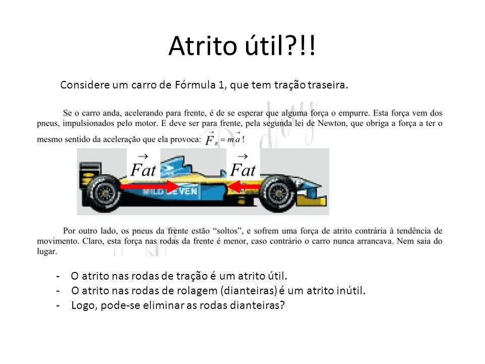 Atrito útil?!.Considere um carro de Fórmula 1, que tem tração traseira.