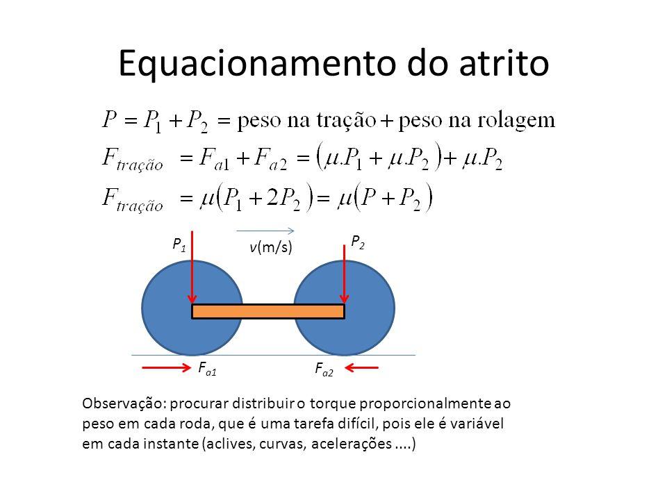 Equacionamento do atrito F a1 F a2 v(m/s) P1P1 P2P2 Observação: procurar distribuir o torque proporcionalmente ao peso em cada roda, que é uma tarefa difícil, pois ele é variável em cada instante (aclives, curvas, acelerações....)