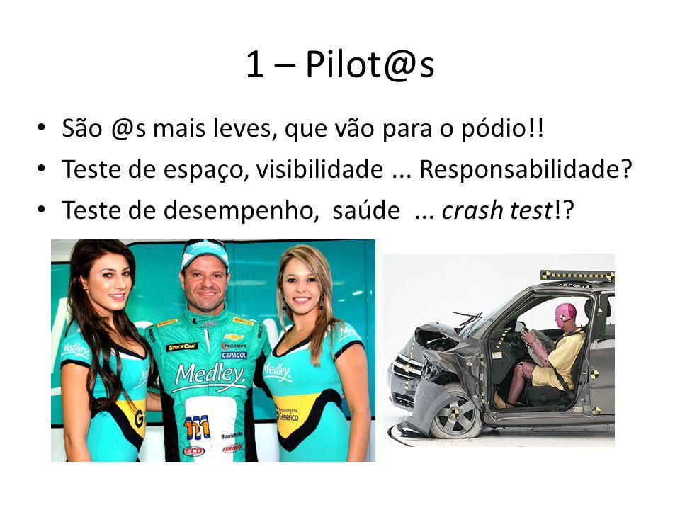 1 – Pilot@s São @s mais leves, que vão para o pódio!! Teste de espaço, visibilidade... Responsabilidade? Teste de desempenho, saúde... crash test!?