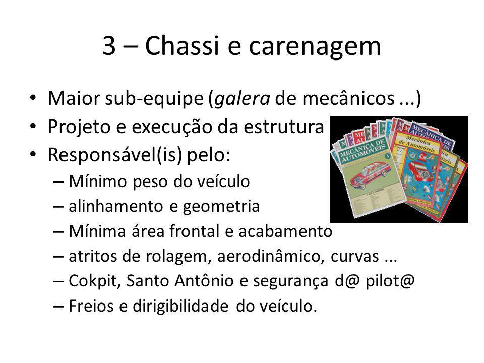 3 – Chassi e carenagem Maior sub-equipe (galera de mecânicos...) Projeto e execução da estrutura Responsável(is) pelo: – Mínimo peso do veículo – alin