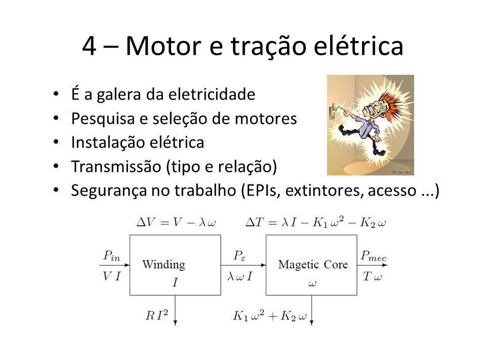 4 – Motor e tração elétrica É a galera da eletricidade Pesquisa e seleção de motores Instalação elétrica Transmissão (tipo e relação) Segurança no tra