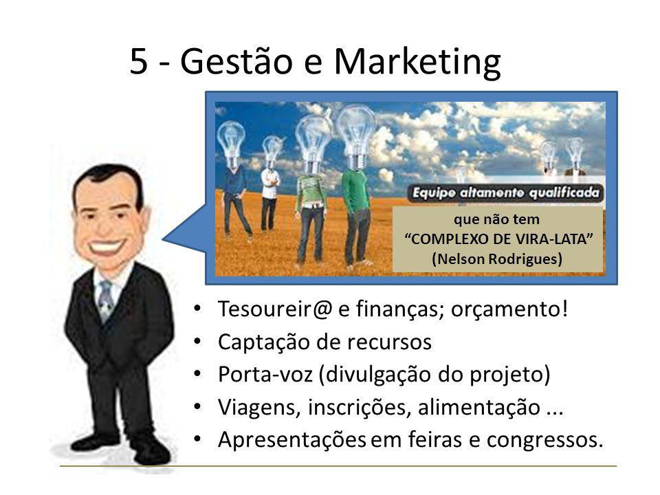 5 - Gestão e Marketing Tesoureir@ e finanças; orçamento! Captação de recursos Porta-voz (divulgação do projeto) Viagens, inscrições, alimentação... Ap