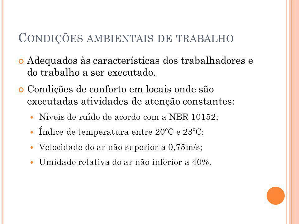 C ONDIÇÕES AMBIENTAIS DE TRABALHO Adequados às características dos trabalhadores e do trabalho a ser executado.