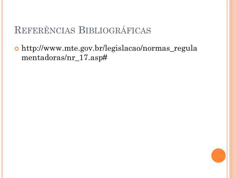 R EFERÊNCIAS B IBLIOGRÁFICAS http://www.mte.gov.br/legislacao/normas_regula mentadoras/nr_17.asp#