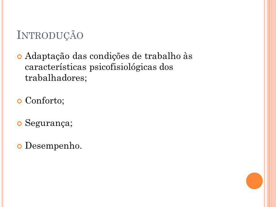 I NTRODUÇÃO Adaptação das condições de trabalho às características psicofisiológicas dos trabalhadores; Conforto; Segurança; Desempenho.