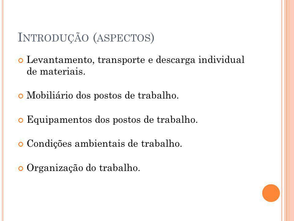 I NTRODUÇÃO ( ASPECTOS ) Levantamento, transporte e descarga individual de materiais.
