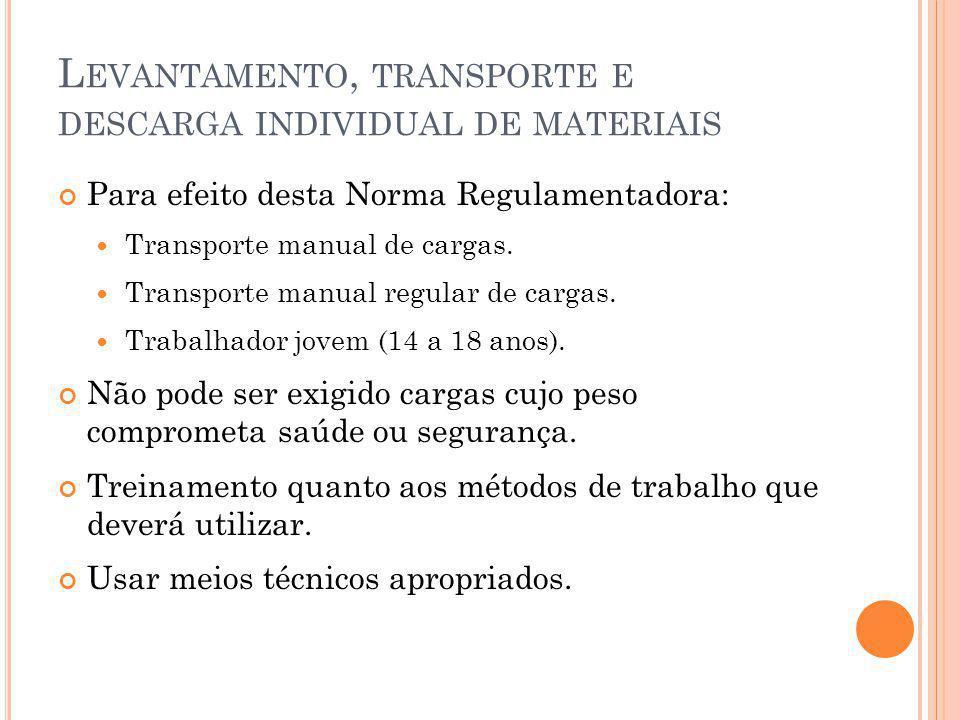 L EVANTAMENTO, TRANSPORTE E DESCARGA INDIVIDUAL DE MATERIAIS Para efeito desta Norma Regulamentadora: Transporte manual de cargas.
