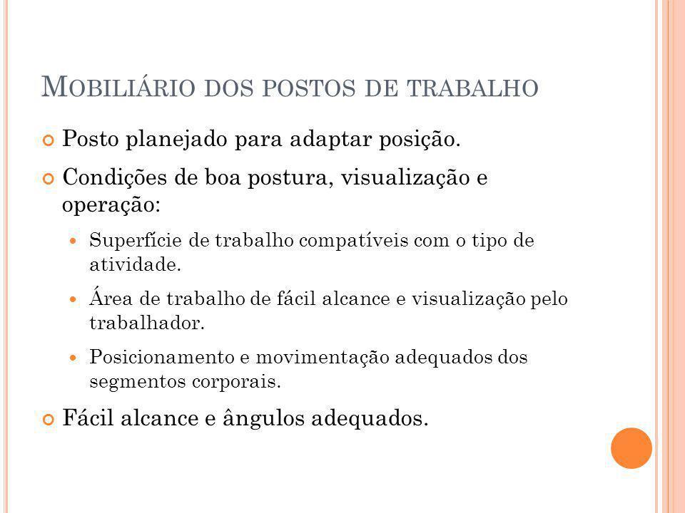 M OBILIÁRIO DOS POSTOS DE TRABALHO Posto planejado para adaptar posição.