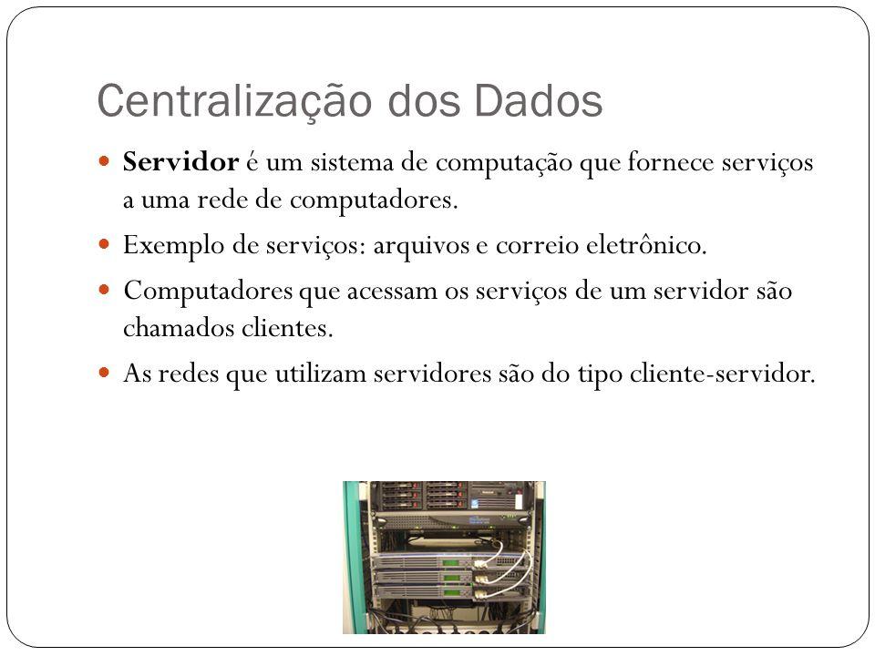 Centralização dos Dados Servidor é um sistema de computação que fornece serviços a uma rede de computadores. Exemplo de serviços: arquivos e correio e