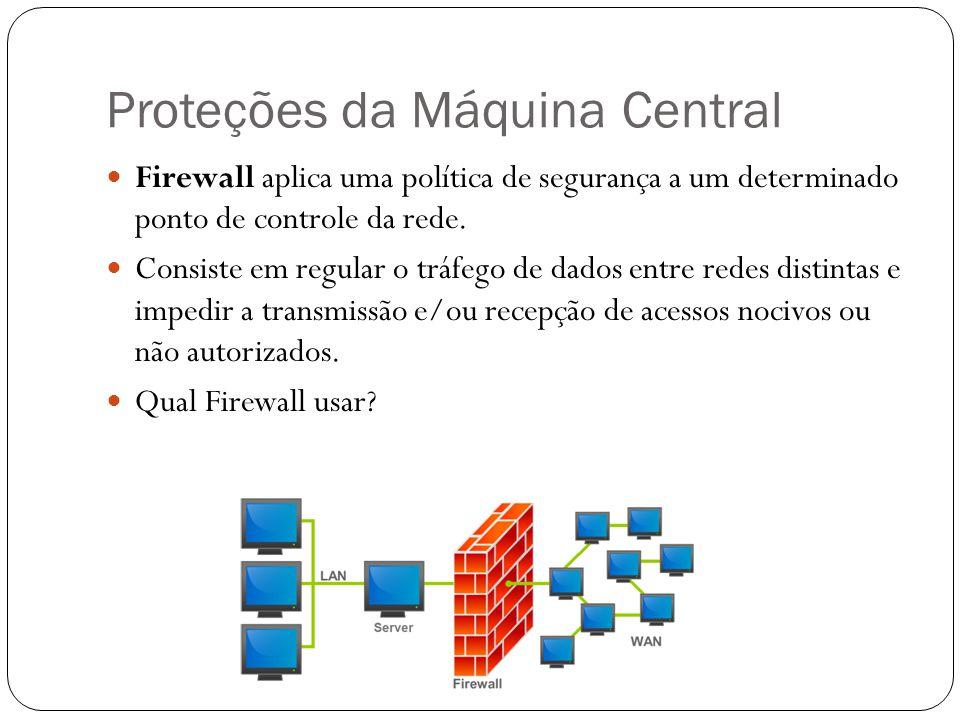 Proteções da Máquina Central Firewall aplica uma política de segurança a um determinado ponto de controle da rede. Consiste em regular o tráfego de da