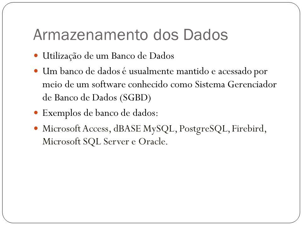 Armazenamento dos Dados Utilização de um Banco de Dados Um banco de dados é usualmente mantido e acessado por meio de um software conhecido como Siste