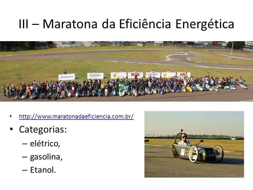 III – Maratona da Eficiência Energética http://www.maratonadaeficiencia.com.br/ Categorias: – elétrico, – gasolina, – Etanol.
