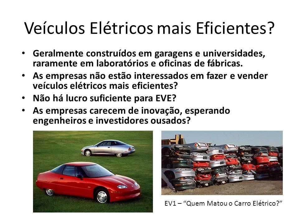 Veículos Elétricos mais Eficientes? Geralmente construídos em garagens e universidades, raramente em laboratórios e oficinas de fábricas. As empresas