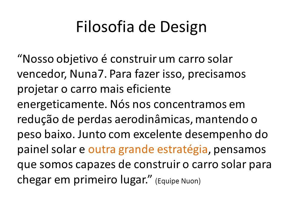 Filosofia de Design Nosso objetivo é construir um carro solar vencedor, Nuna7. Para fazer isso, precisamos projetar o carro mais eficiente energeticam
