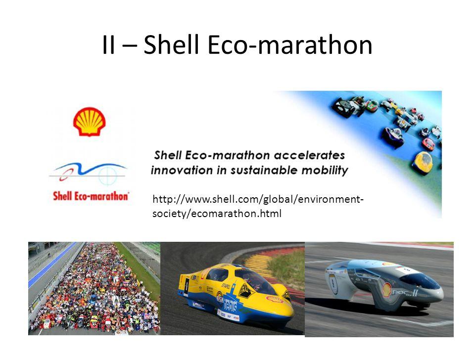 II – Shell Eco-marathon http://www.shell.com/global/environment- society/ecomarathon.html
