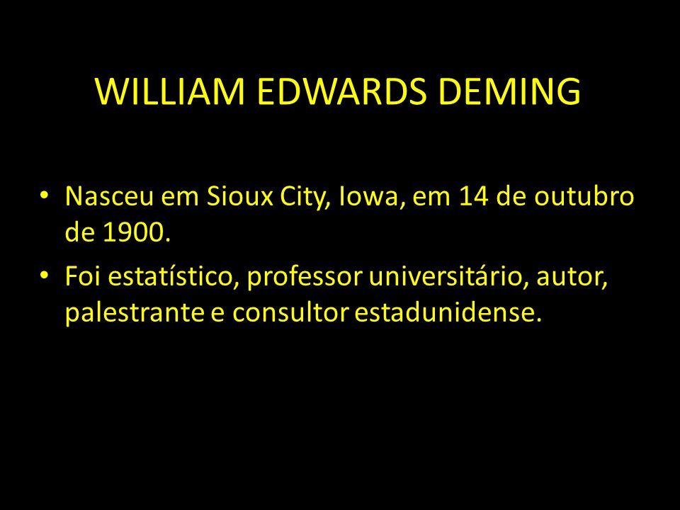 WILLIAM EDWARDS DEMING Nasceu em Sioux City, Iowa, em 14 de outubro de 1900. Foi estatístico, professor universitário, autor, palestrante e consultor