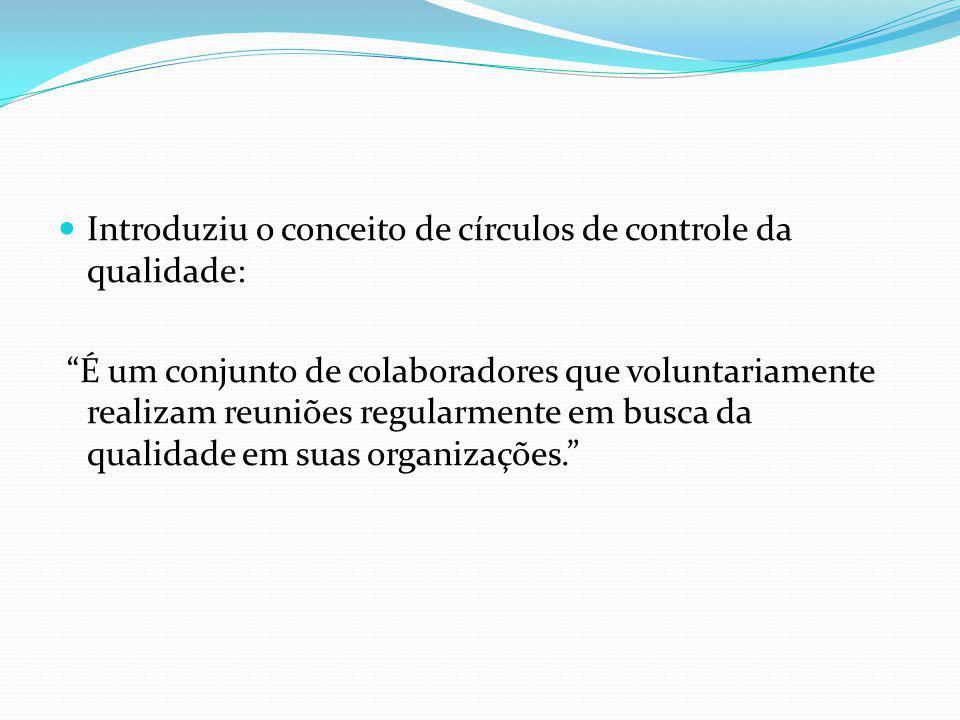 Introduziu o conceito de círculos de controle da qualidade: É um conjunto de colaboradores que voluntariamente realizam reuniões regularmente em busca