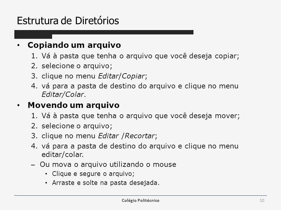 Estrutura de Diretórios Copiando um arquivo 1.Vá à pasta que tenha o arquivo que você deseja copiar; 2.selecione o arquivo; 3.clique no menu Editar/Co