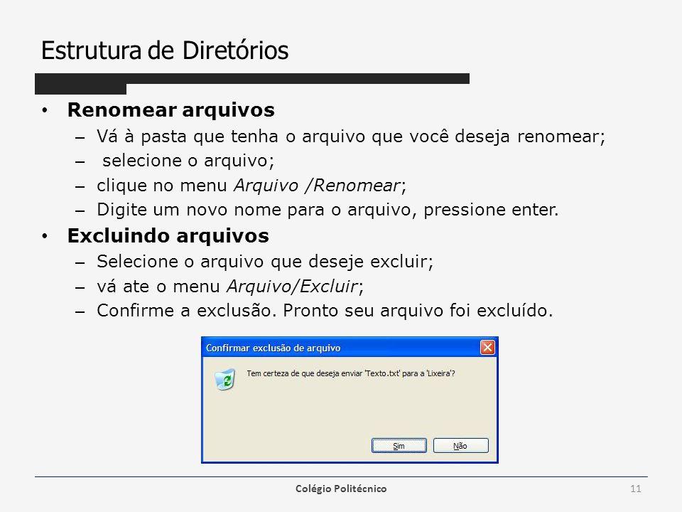 Estrutura de Diretórios Renomear arquivos – Vá à pasta que tenha o arquivo que você deseja renomear; – selecione o arquivo; – clique no menu Arquivo /