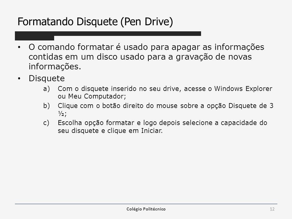 Formatando Disquete (Pen Drive) O comando formatar é usado para apagar as informações contidas em um disco usado para a gravação de novas informações.