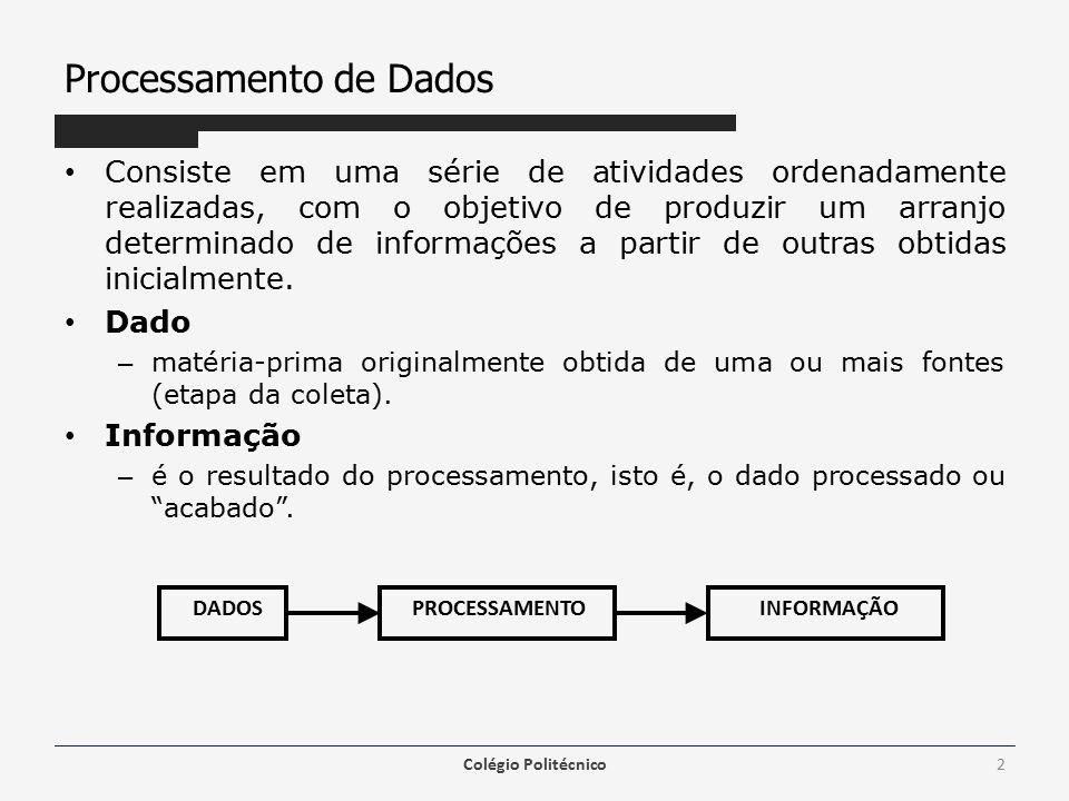 Processamento de Dados Consiste em uma série de atividades ordenadamente realizadas, com o objetivo de produzir um arranjo determinado de informações a partir de outras obtidas inicialmente.