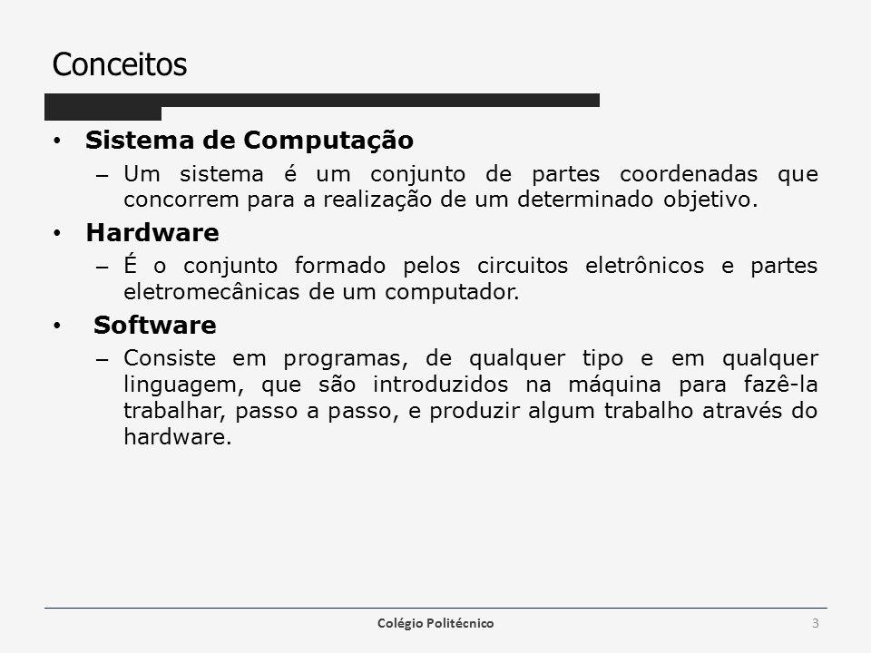 Área de Trabalho Janela – O sistema operacional Windows (janelas em inglês), utiliza o conceito de janelas para representar cada programa em utilização – Têm formato padrão contendo: Área retangular selecionável, móvel e de dimensões que podem ser alterados Margens que podem ser redimensionadas Um menu de opções Botões que ficam na parte superior direito da janela, sendo a mais esquerda para minimizar a janela, a do centro para maximizar a janela e a da direita para encerrar e fechar a janela Barras de rolagem do conteúdo da janela, verticalmente e outro horizontalmente Colégio Politécnico14