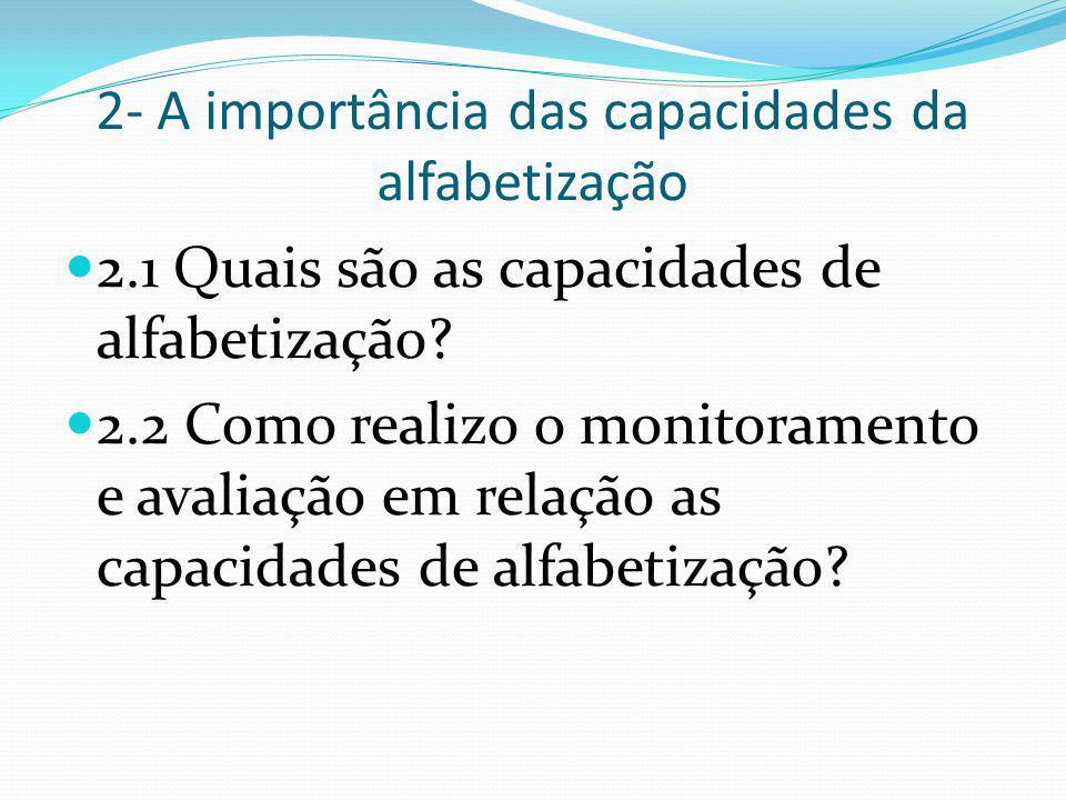 2- A importância das capacidades da alfabetização 2.1 Quais são as capacidades de alfabetização? 2.2 Como realizo o monitoramento e avaliação em relaç