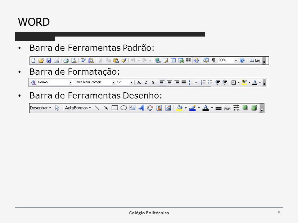 WORD Modos de Visualização – Normal Para poder visualizar o texto quando não é necessário ter ainda uma ideia sobre como irá ficar o trabalho final, deverá ser selecionado este modo de visualização, pois necessita de menos recursos do computador.
