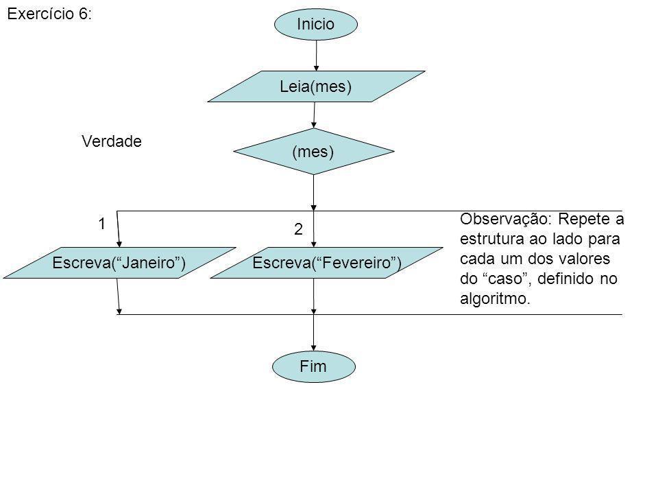 Inicio Exercício 6: Leia(mes) (mes) Fim Verdade Escreva(Janeiro)Escreva(Fevereiro) 1 2 Observação: Repete a estrutura ao lado para cada um dos valores do caso, definido no algoritmo.