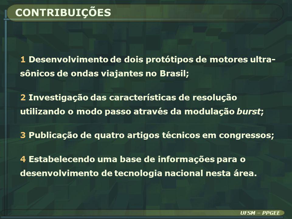 CONTRIBUIÇÕES UFSM – PPGEE 1 Desenvolvimento de dois protótipos de motores ultra- sônicos de ondas viajantes no Brasil; 2 Investigação das característ